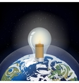 light bulb in the planet earth vector image