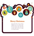 christmas background with cute icons vector image