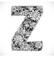 Doodles font from ornamental flowers - letter Z vector image
