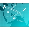 Airplanes flying with white flight tracks over map vector image