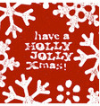 Merry Christmas Grunge Postcard Design On Red vector image