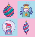 set merry chrstmas decoration design vector image