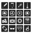 Black Simple medical themed icons vector image vector image