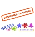 Designed In China Rubber Stamp vector image