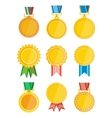 Gold winner badge with ribbon isolated set vector image