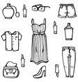 Doodle set of women clothes vector image