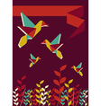 Origami hummingbird spring time vector image