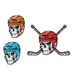 Skull with ice hockey amunition vector image
