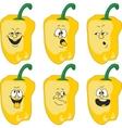 Emotion cartoon yellow pepper vegetables set 012 vector image vector image