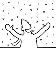 Man playing with snowflakes vector image