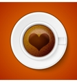 Cup of coffee with heart vector image