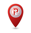 No parking sign on map pointer vector image