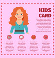 red hair young girl infographic card vector image