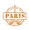 stamp with Eiffel Tower vector image