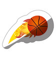 sticker colorful olympic flame with basketball vector image