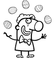cartoon clown juggling easter eggs for coloring vector image