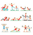 Parent and child doing sportive exercises and vector image