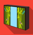 wardrobe with mirror and green doors the place vector image