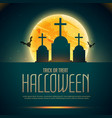 creepy halloween poaster with grave and flying vector image