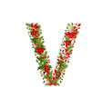christmas floral tree letter V vector image vector image