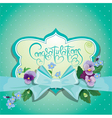 Holiday card Colorful flowers frame with blue bow vector image vector image