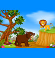 bear and lion with mountain cliff scene vector image