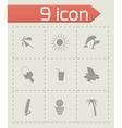 black summer icons set vector image