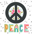 Peace sign with hand lettering flowers and vector image