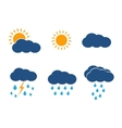 weather icons set Sun clouds rain vector image