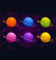 funny cartoon fantasy furry planets set vector image