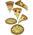 set of pizza design elements for poster menu vector image
