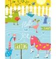 Colorful Fun Cartoon Farm Ice Skating Animals for vector image