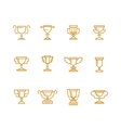 Trophy cup line icons set vector image vector image