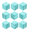 Cartoon Isometric ice game brick cubes set vector image