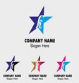 Abstract K letter logo design with star icon vector image
