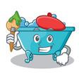 artist bathtub character cartoon style vector image