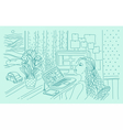Digital at work in home workspace vector image