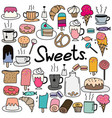hand drawn doodle sweets set vector image