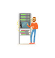 network engineer administrator working in data vector image