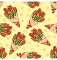 Seamless pattern with a bouquet of tulips vector image