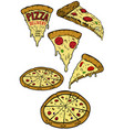 set of pizza design elements for poster menu vector image