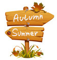Autumn wooden arrow board vector image