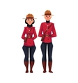 Canadian male and female policeman in traditional vector image