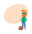 red haired man tourist in sunglasses standing vector image
