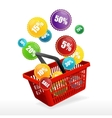 basket and sale labels vector image