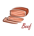 Cartoon roast beef in retro style vector image