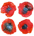 Four stylized watercolor poppy flowers Watercolor vector image