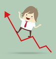 businessman is happy and running up on red arrow vector image