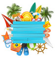 beach accessories with wooden plank vector image