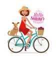 beautiful girl on bike perfect getaway vacation vector image